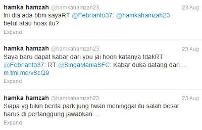 Akun twitter Hamka Hamzah yang memberikan konfirmasi terkait kabar bohon mengenai kematian Park Jung-Hwan